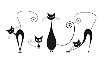 Attractive Platin Art Wall Decal Deco Sticker, Black Cats Part 27