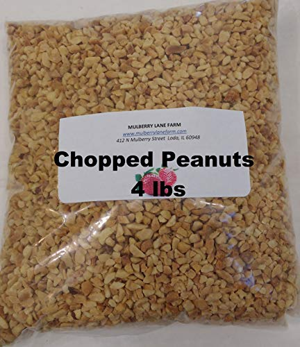 Peanuts, Chopped, 4 Pounds All Natural, Roasted, No Salt Unsalted, Great for Candy Apples, Baking, On Ice Cream Bulk