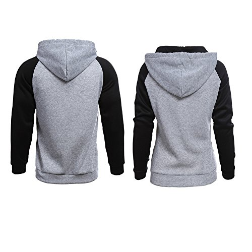 994f8ff642 YJQ King Queen Matching Couple Pullover Hoodie Sweatshirts + Bracelets Grey  Men M +Women L