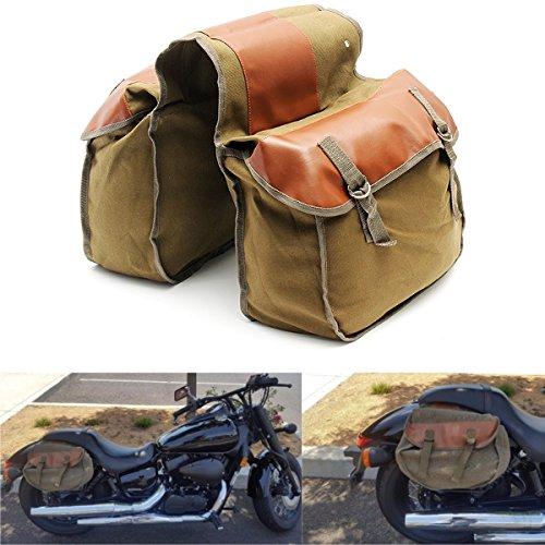 YONGYAO Motorrad Bike Side Saddle Bag Canvas Gepä ck Khaki Tasche-Khaki
