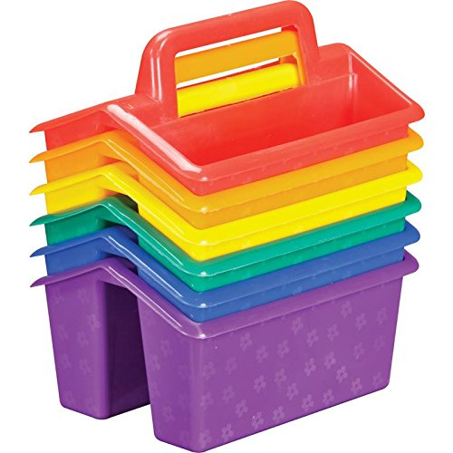 Really Good Stuff Small Stackable Utility Caddies - Assorted Rainbow Colors for Fun and Easy Storage of Small Items - (Set of 6)
