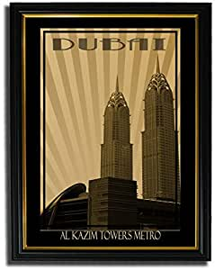 Al Kazim Towers Metro - Sepia F08-nm (a4) - Framed