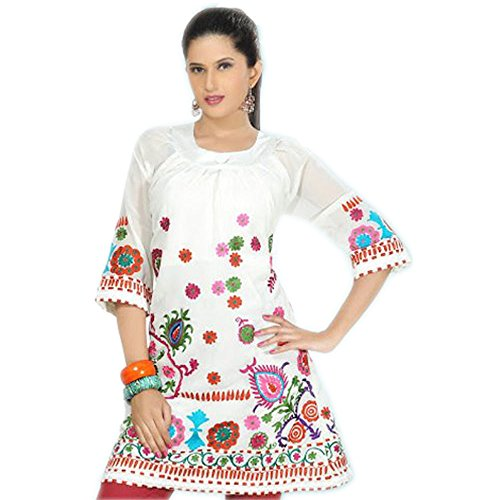 Buy embroidered cotton tunic dress - 9