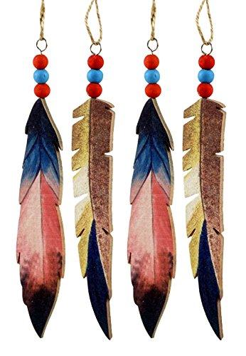 Christmas Ornaments Feather (Caffco Tribal Feather Hanging Christmas Ornaments - Set of 4)