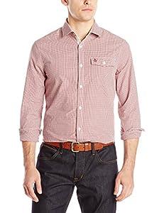 Original Penguin Men's Mini Gingham Button Down Shirt, Pomegranate, Large