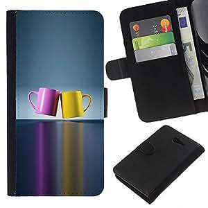 All Phone Most Case / Oferta Especial Cáscara Funda de cuero Monedero Cubierta de proteccion Caso / Wallet Case for Sony Xperia M2 // chashka posuda cvet para