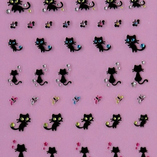 JYS Nail Art Stickers Nail Crystals And Rhinestones Black Cat Butterfly Design Nail Sticker Sheets Set for Nail Art Design