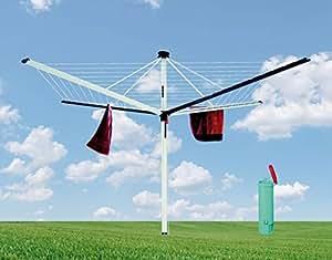 Dreams4Home Tendedero–Cuerda para tender, Tendedero, 60m cuerda, inoxidable, resistente a la intemperie, duradera, Blome, fabricado en Alemania, b2,40X Diámetro: 3,38X H: 2,06m, aluminio, Jardín, Terraza, mate brillante