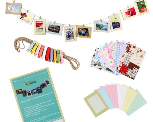 Photo Accessories Frame (STONCEL Wall Deco DIY Paper Photo Frame with Mini Clothespins and Stickers - Fits 4