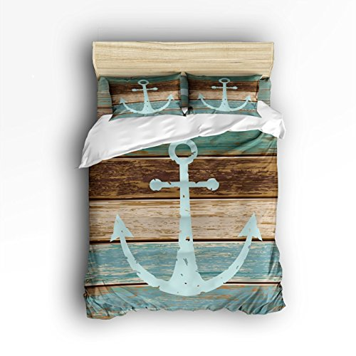 Bedding Set- Nautical Anchor Rustic Wood Duvet Cover Set Bedspread for Childrens/Kids/Teens/Adults, 4 Piece 100% Cotton - Full Size
