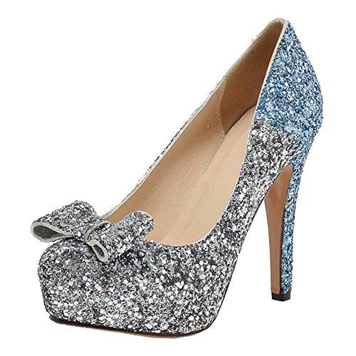 COOLCEPT Mujer Moda Sin Cordones Tacon de Aguja Bombas Zapatos Shiny Glitter Cerrado Boda Zapatos With Bowknot (38 EU, Blue)