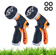 2 Pack Garden Hose Nozzle 8-Way Heavy Duty Hose Spray Gun High Pressure Hand Sprayer Spray Nozzle for Watering