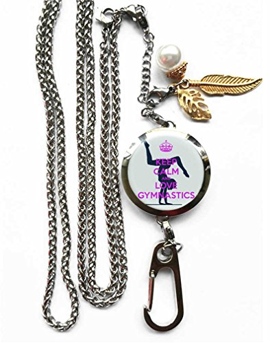 RhyNSky Keep Calm And Be A Gymnast Aromatherapy Essential Oil Diffuser Locket Pendant ID Badge Holder Lanyard Necklace Bracelet Keychain with Chain and Pads, - Aroma Perfume Calm