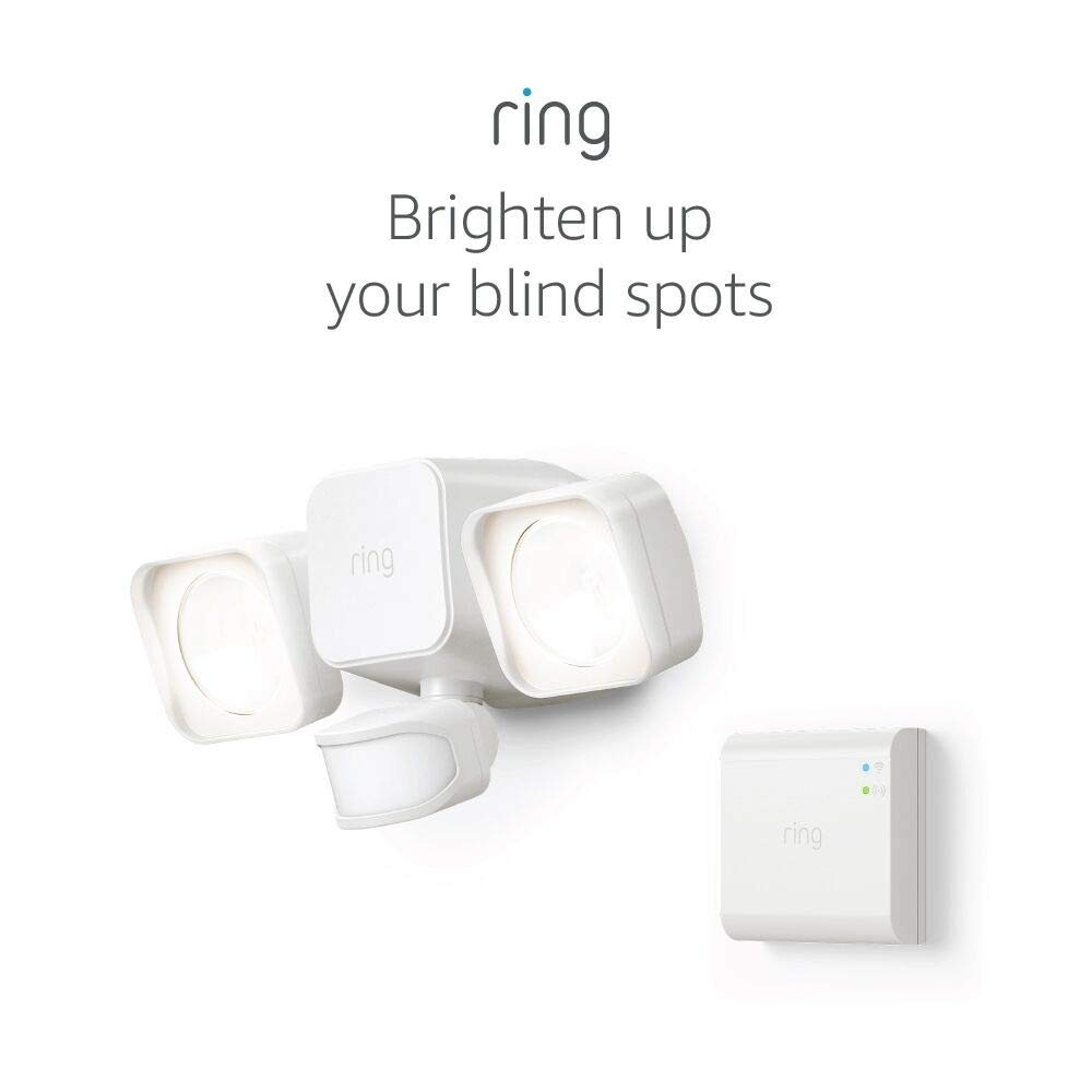 Ring Smart Lighting – Floodlight, Battery-Powered, Outdoor Motion-Sensor Security Light, White (Starter Kit)