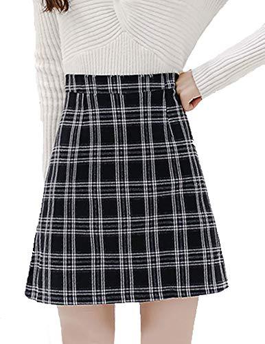 Back Skirt A-line Zip (Women's Elegant Mid Bodycon High Waisted Zip Back Plaid A-Line Mini Skirts (2-4, Black))