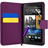 Purple HTC One M7 Premium Side Flip Case Cover, Screen Protector and Polishing Cloth + High Capacitive Touch Screen Stylus