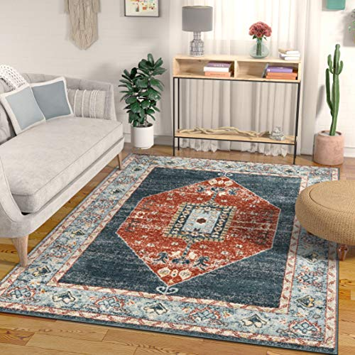 Well Woven Nalah Oriental Medallion Vintage Tribal Blue & Red Area Rug 8x11 (7'10