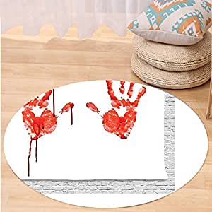 Kisscase Custom carpetBloody Handprint like Wanting Help Halloween Horror Scary Spooky Flowing Blood Themed Print Bedroom Living Room Dorm Decor Red White