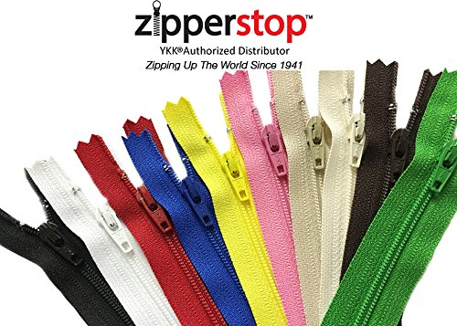 Zipperstop - Mixed Packs of Nylon Auto lock Zips YKK #3 Brand Closed Bottom Made in USA Colors Black, White, red, blue, yellow, pink, beige, cream, brown, green 4-24 INCH (TOTAL OF 180 ZIPS) by ZipperStop Wholesale Authorized Distributor YKK®