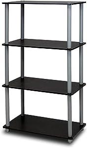 4-Tier Multipurpose/Storage Shelf/Bookshelf/Display Rack, Black/Grey