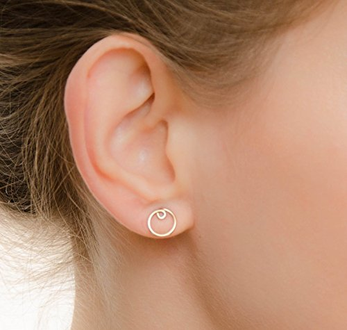 Circle Earrings Round Studs Simple Modern Minimal 14k Gold Filled Jewelry