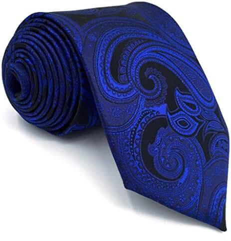 Shlax&Wing Mens Necktie Paisley Dark Blue Navy Silk Tie For Men Fashion New
