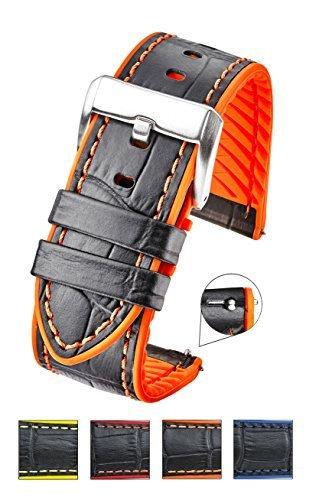 Genuine Alligator Grain Leather Watch Band withシリコン防水裏地とクイックリリーススチールスプリングバー – ブラック/レッド、ブラック/ブルー、ブラック/イエロー、ブラック/オレンジ – 22 mm、24 mm 24MM ブラック/オレンジ B07B2LJMG5 24MM|ブラック/オレンジ ブラック/オレンジ 24MM