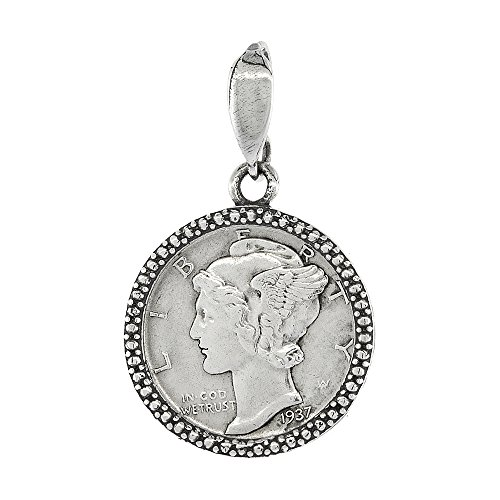(Sterling Silver Dime Bezel 18 mm Coins Prong Back Illusion Edge 10 cent)