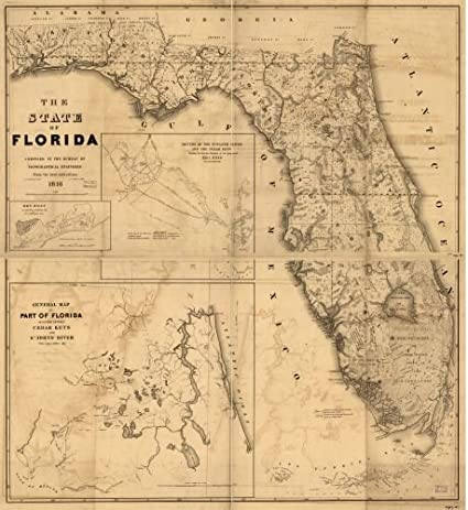 Amazon.com: 1846 Map The State of Florida. - Size: 22x24 - Ready to Frame - Florida | Florida: Posters & Prints