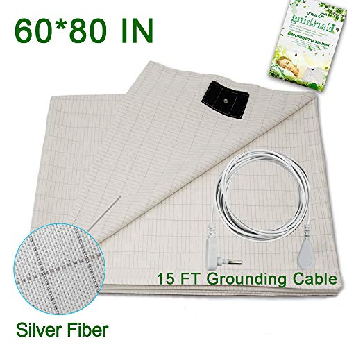 Earthing Sheet with Grounding Connection Cord ,Conductive Grounding Mat for Better SleepNatural Wellness, Earthing Grounding Mat fits Full Queen and King Size Beds, Safe for Kids and Adults, A New Lifestyle Recommend (Earthing sheet 60*80 IN-01)