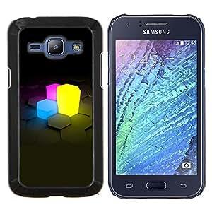 "Be-Star Único Patrón Plástico Duro Fundas Cover Cubre Hard Case Cover Para Samsung Galaxy J1 / J100 ( Cubos de neón"" )"