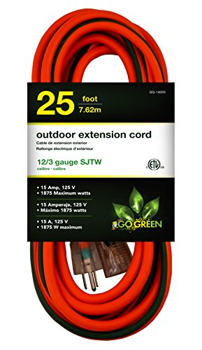 GoGreen Power GG-14025 - 12/3 25' SJTW Outdoor Extension Cord - Lighted End