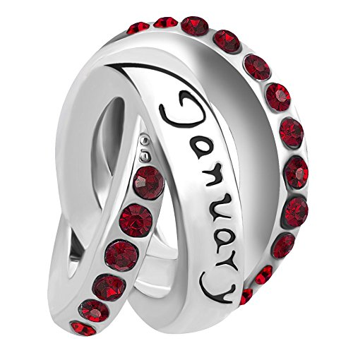 LovelyJewelry January Birthday Simulated Birthstone Charms for Snake Chain Bracelets ()