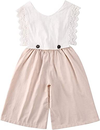 2PCS Kids Girls T-shirt+Overalls Suspender Wide Leg Pants Romper Outfits Set New