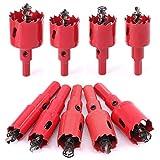 Swpeet 9 Pcs Heavy Duty Hole Saw Set, M42 HSS Hole Saw Tooth Cutting Opener Drill Bit Perfect for Metal, Wood, Aluminum, Ceramic - 9 Sizes