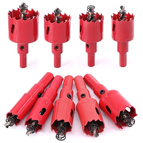 M42 Set (Swpeet 9 Pcs Heavy Duty Hole Saw Set, M42 HSS Hole Saw Tooth Cutting Opener Drill Bit Perfect for Metal, Wood, Aluminum, Ceramic - 9 Sizes)
