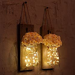Chen Mason Jar Sconces LED - Fairy Lights,Vintage