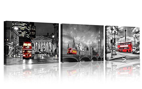 QICAI 3 Panels Black and White England London City Canvas of