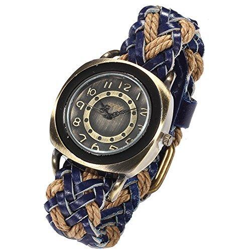 ¿El mundo de la moda BlueVega trenzado Manual? Correa de cuero reloj de pulsera de la cuerda para las mujeres y los hombres de color azul: Amazon.es: ...