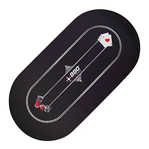 BBO Poker Portable Poker & Game Mat for 8 Players, Black