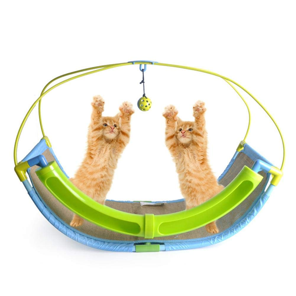 Smileyyi Cat Sleeping Cradle Bed with Bell Ball Pet Interactive Toy Cat Toy Rocker PP Resin Linen Canvas Swing Cat Sofa