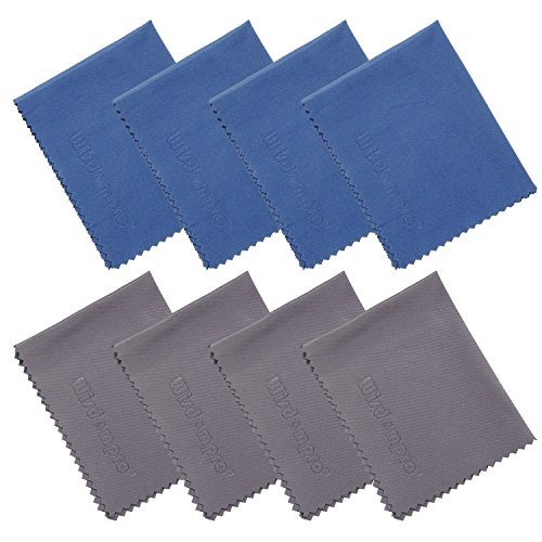 Wisdompro 8-Pack Microfiber Cleaning Cloth for Camera Lens, Glass, Lenses, Phone, iPhone, iPad, Tablet, Laptop, LCD TV, Computer Screen, Monitor and Other Delicate Surface (4 Blue, 4 Grey 6x7 Inch)