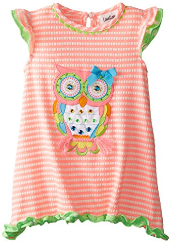 Counting Daisies Little Girls' Striped Textured Knit Dress with Owl Applique, Coral/White, (Daisy Knit Dress)