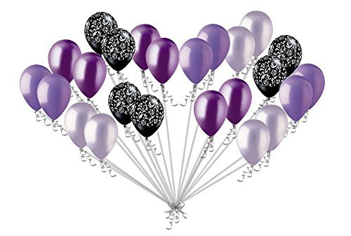 Black And Purple Balloons (24 pc Elegant Damask Black Lavender & Purple Latex Balloons Party Decoration)