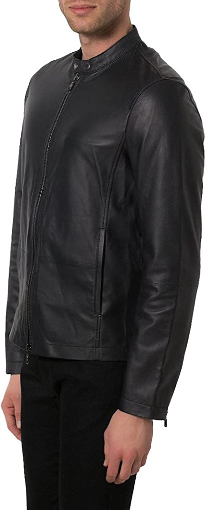 Men Slim Genuine Lambskin Leather Designer Coat Motorcycle Biker Jacket Overcoat KL341