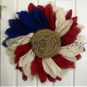 Extra Thick American Flag Burlap Sunflower Wreath by The Crafty WineauxTM 32