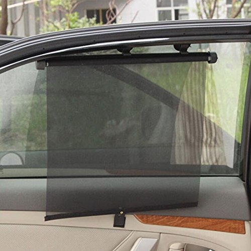 FrontTech Retractable Car Window Shade Roller, 2 Packs Premium Car Sunshade Windshield Protection UV Ray Blocker for Side Windows with 6pcs Sunction Cup
