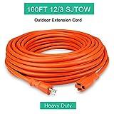 Outdoor Extension Cord 100ft 12/3C, Allsmartlife Vinyl Heavy Duty Outdoor/Indoor Power Extension Cable 100' 12 Gauge - 15A 125V 1875Watt SJTOW (Orange)