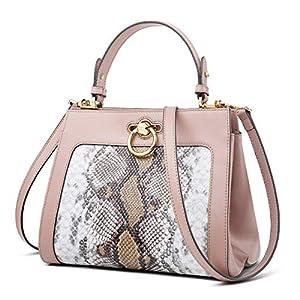 FOXER Women Leather Snakeskin Handbag Purse Top Handle Crossbody Bag Leather Tote Shoulder Bag
