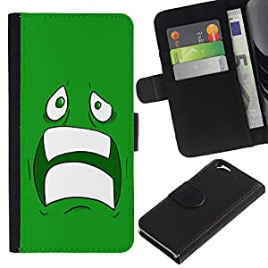Billetera de Cuero Caso del tirón Titular de la tarjeta Carcasa Funda del zurriago para Apple Iphone 6 4.7 / Business Style Sad Scared Face Ugly Fear Cartoon Green Teeth